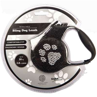 Guia Retrátil Bling Dog Leash - Preto com Prata